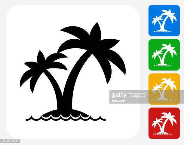 island and palms icon flat graphic design - island stock illustrations