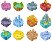 Island game vector cartoon landscape interface design on compute