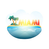 Island in sea. Miami beach with palm trees, ocean