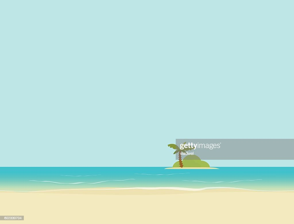 Island in sea or ocean from beach landscape vector illustration