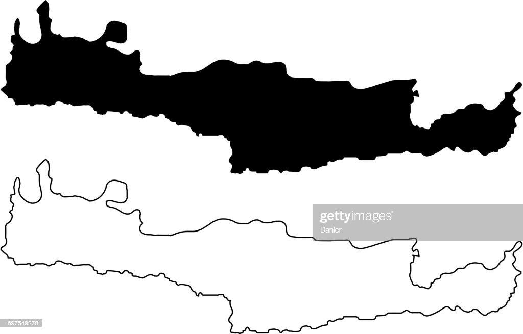 Island of Crete map vector
