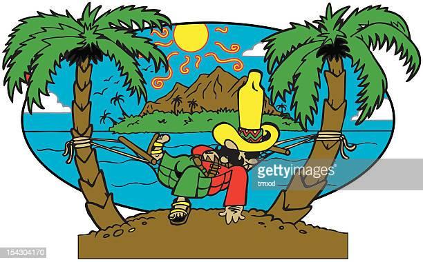 Island Sleeping Guy Cartoon