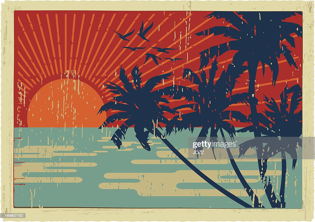 Insel vintage-Postkarten : Stock-Illustration