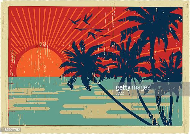ilustraciones, imágenes clip art, dibujos animados e iconos de stock de isla vintage postal - puesta de sol