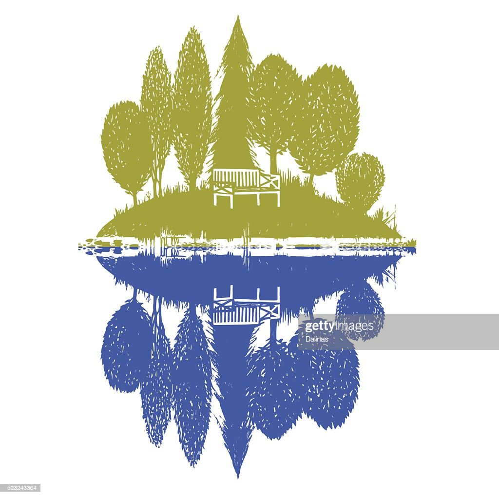 island with reflection in two colors