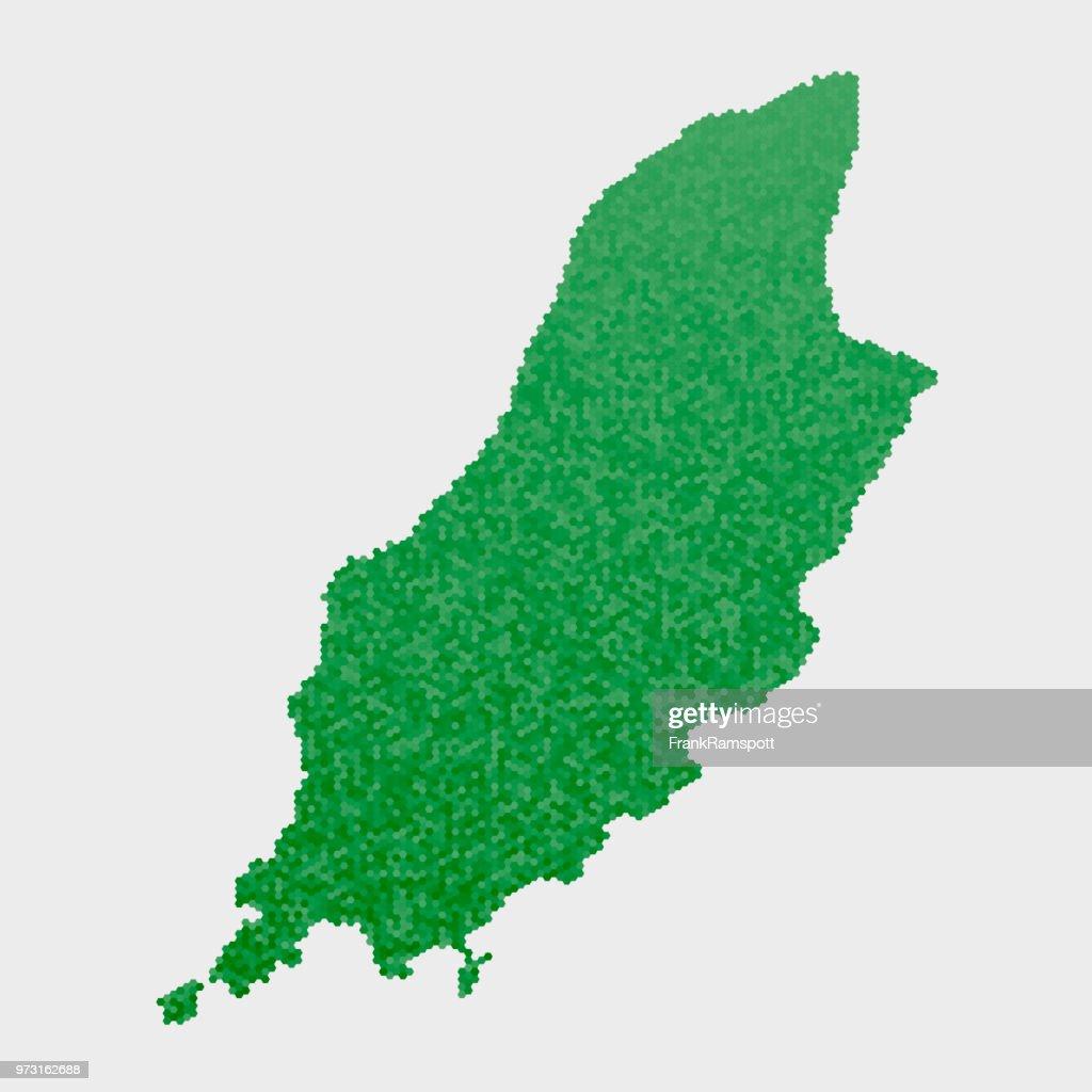 Isle Of Man Land Map grünen Sechseck-Muster : Vektorgrafik
