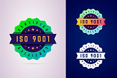 Iso 9001 certified badge. Three color variants label for certificated product.
