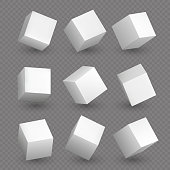 Isolated 3d cubics. White cubes or box shapes with shadows vector set