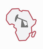 Isolated Africa map with a horsehead pump