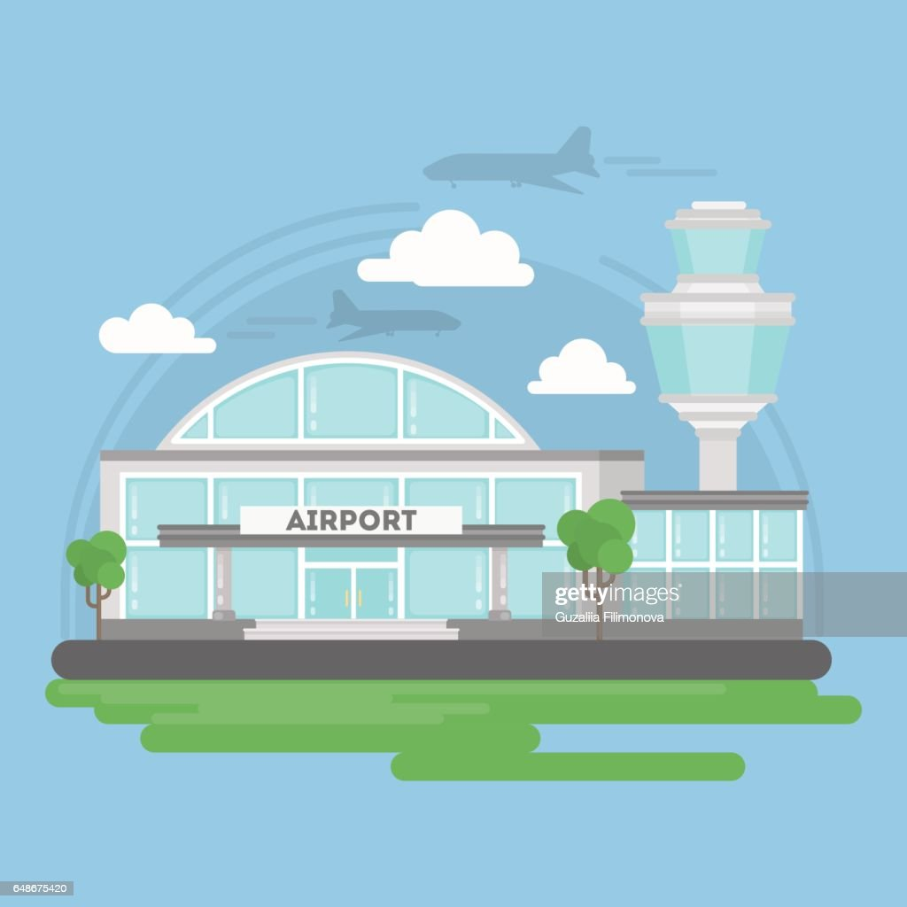 Isolated airport building.
