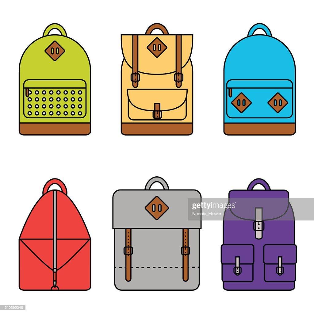 Isolated backpack icons set on background.