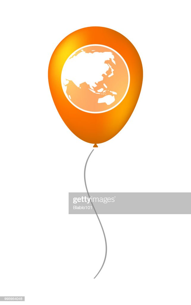 Isolated balloon with  an Asia Pacific world globe map