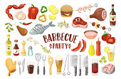 Isolated Barbecue Party Elements.
