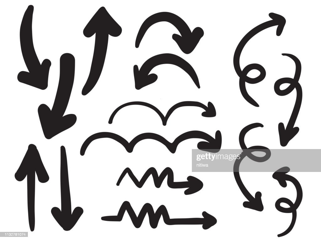 isolated big bold black ink brush childish hand drawn arrows set element for background, note, texture etc. vector design