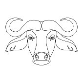 Isolated black outline head of buffalo on white background. Line cartoon face portrait.
