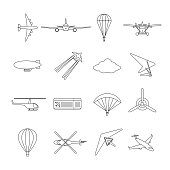 Isolated black outline hydroplane, airplane, parachute, helicopter, propeller, hang-glider, dirigible, paraglide, balloon. Set of line aviation icon.