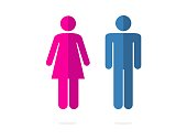 isolated blue and pink silhouette man and woman icons set flat vector design