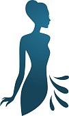 Isolated blue woman silhouette