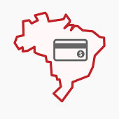 Isolated Brazil map with  a credit card
