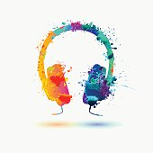Isolated bright  icon of  watercolor headphone