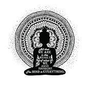 Isolated Buddha Silhouette And Mandala Design.