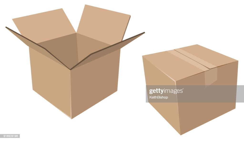 Isolated Cardboard Moving Boxes, Open and Closed : stock illustration