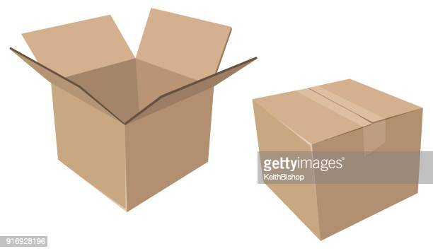Isolated Cardboard Moving Boxes, Open and Closed