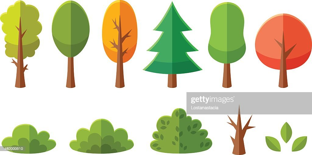 Isolated cartoon trees and bushes pack