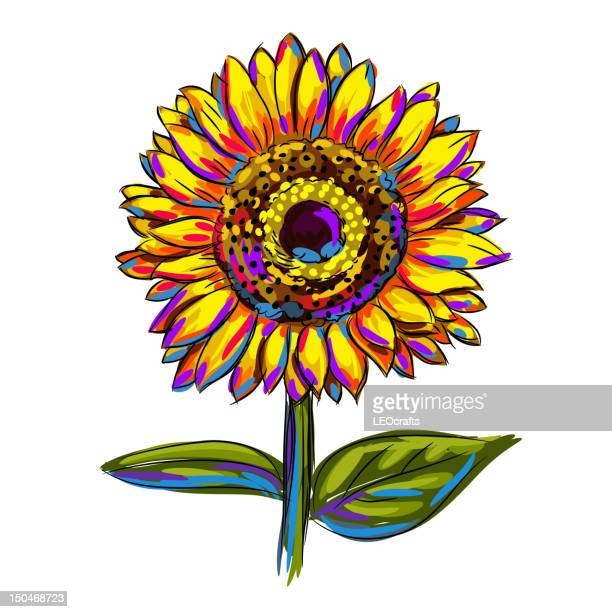 isolated colorful sunflower - sunflower stock illustrations, clip art, cartoons, & icons