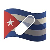 Isolated Cuba flag with a pill