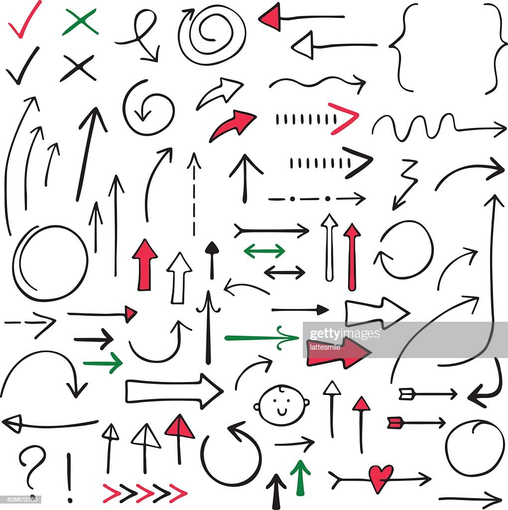 Isolated doodle vector arrows set, hand drawn