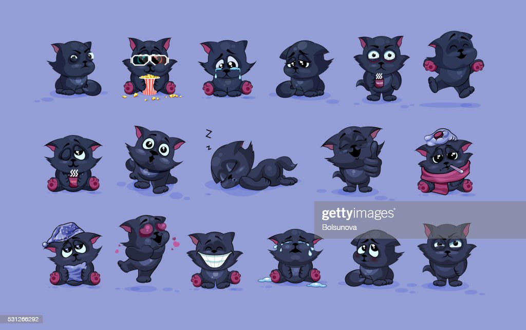 isolated Emoji character cartoon black cat stickers emoticons with different