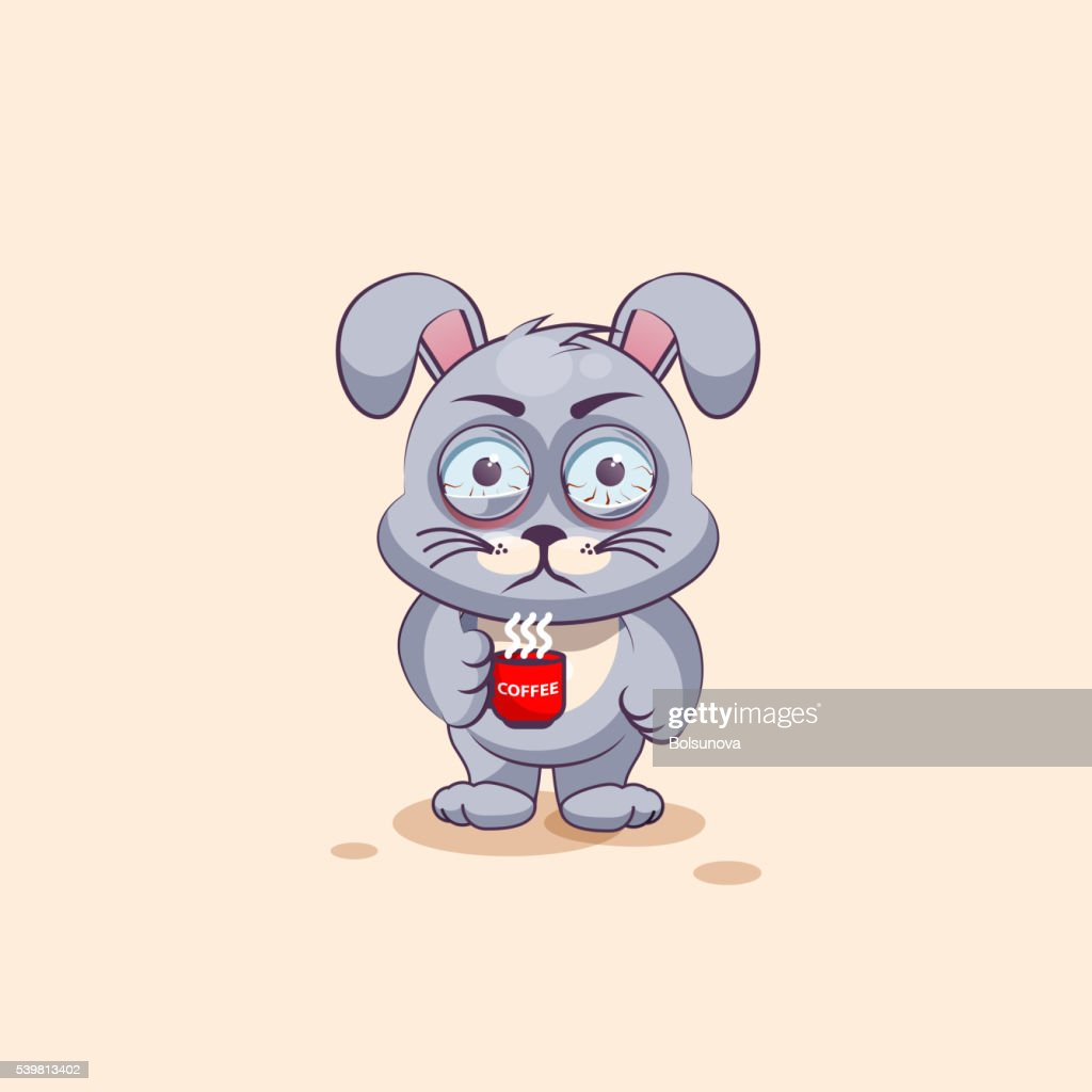 Isolated Emoji Character Cartoon Gray Leveret Nervous With Cup Of