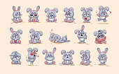 isolated Emoji character cartoon Gray leveret stickers emoticons with different