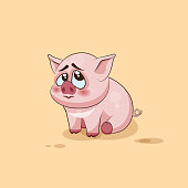 isolated Emoji character cartoon Pig embarrassed, shy and blushes sticker