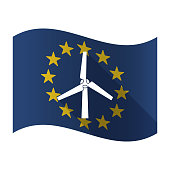 Isolated EU flaw with a wind turbine