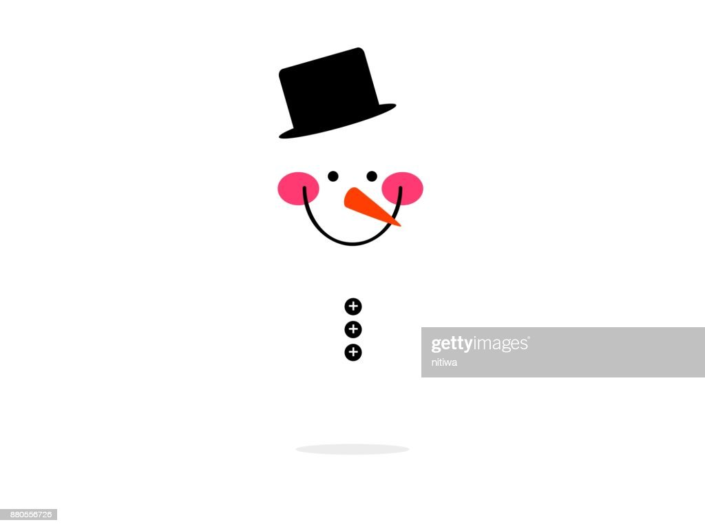 isolated face big smile snow man