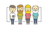 Isolated flat hipster men with beard using smartphone