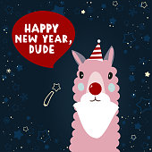 Isolated flat New Year illustration with Lama. Happy New Year, dude.