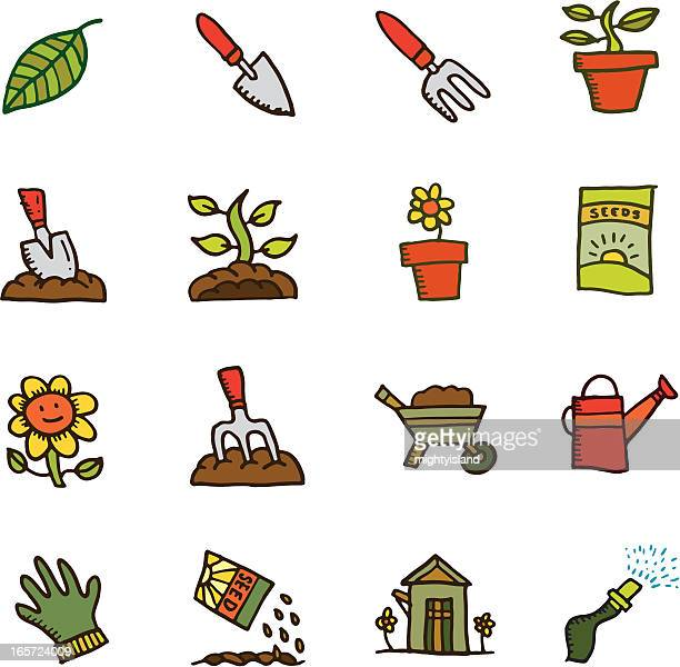 Isolated gardening hand drawn cartoons