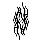 TATTOO TRIBAL DESIGNS. Isolated graphic design element. Decorative element for design in tribal style.