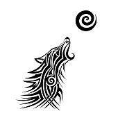 TATTOO WOLF TRIBAL VECTOR DESIGNS. Isolated graphic design element. Decorative element for design in tribal style.