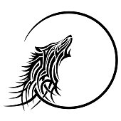 TATTOO WOLF TRIBAL VECTOR DESIGNS. Isolated graphic element in tribal style on white background.