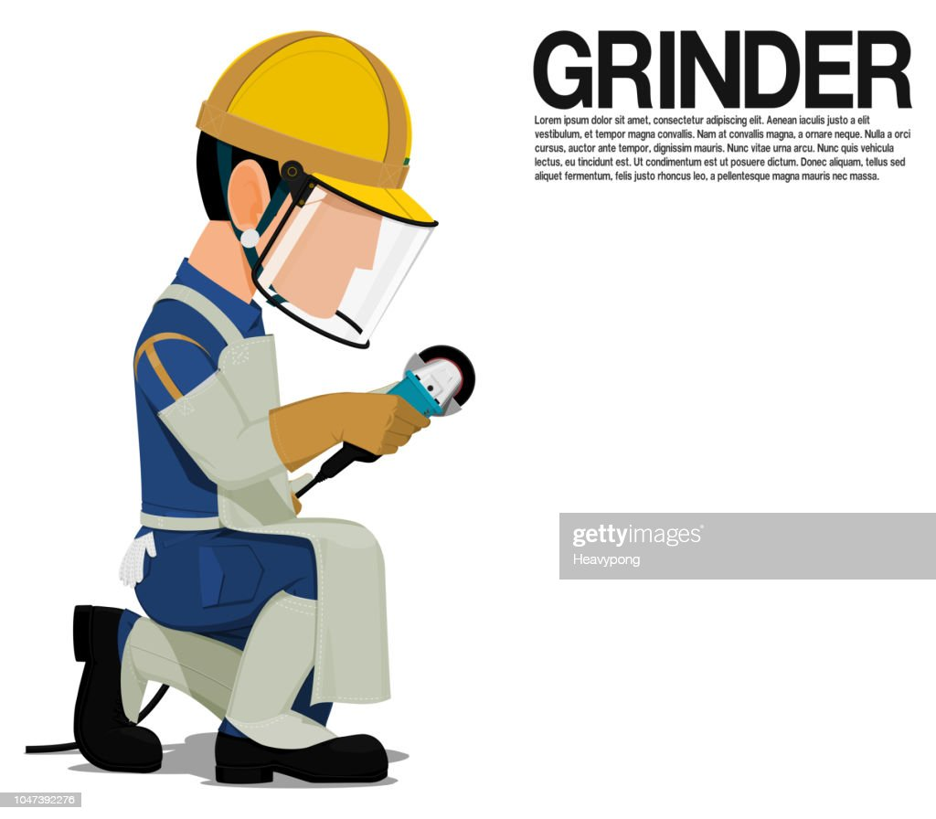 Isolated Grinder with PPE on transparent background