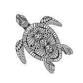 Isolated hand drawn black outline abstract ornate turtle on white background. Ornament of curve lines. Page of coloring book.