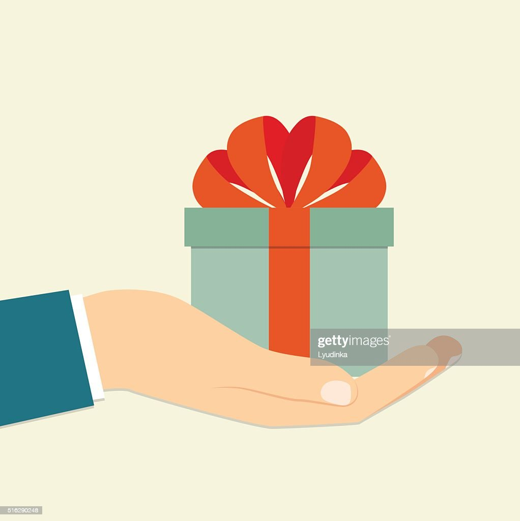 Isolated  hand holding blue gift box . Vector flat illustration