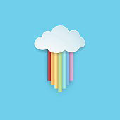 Isolated hanging cartoon rainbow colored ribbons with rainy cloud on the blue background. Paper art style. Minimal and clean design. Vector illustration.