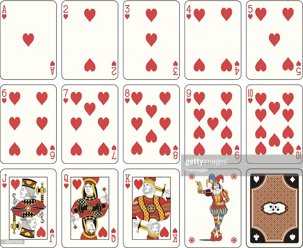 Isolated Heart suit playing cards