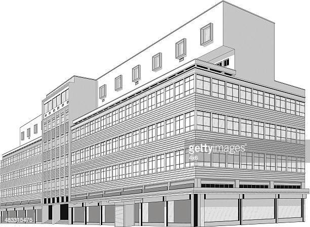 isolated hospital building - corner of building stock illustrations, clip art, cartoons, & icons
