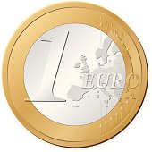 Isolated image of a one euro coin on a white background